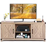 TV Console Cabinet for TVs up to 65 Inch W/Media Shelves, Farmhouse TV Stand Style Entertainment Center for Soundbar or Other
