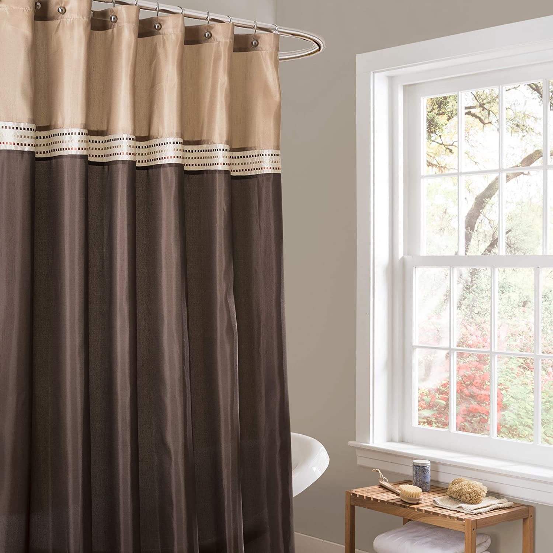lush decor terra color block shower curtain fabric striped neutral bathroom decor 72 by 72 inch brown beige