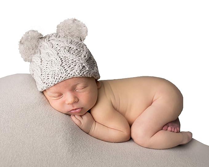 359522d281a Amazon.com  Huggalugs Tan Baby Cable Knit Pom Pom Newborn Boy ...