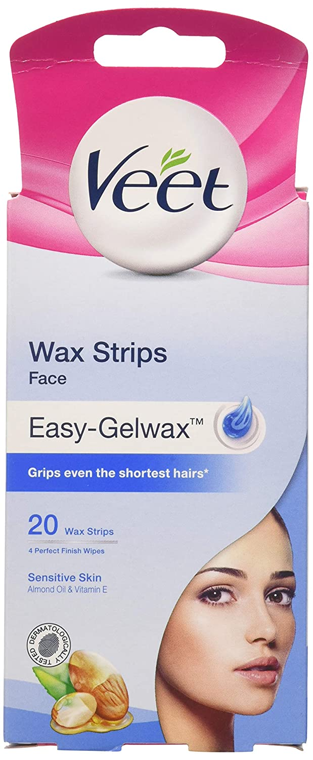 Veet Face Wax Strips para pieles sensibles, paquete de 20: Amazon.es: Belleza
