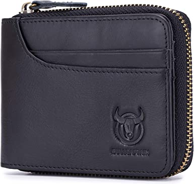 Mens RFID Blocking Leather Wallet Anti-magnetic Credit Cards Holder Zipper Purse