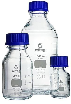 Botellas de laboratorio de 50 ml GL32, con graduaciones, con tapón de rosca y