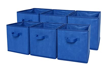 Sodynee Foldable Cloth Storage Cube Basket Bins Organizer Containers  Drawers, 6 Pack, Blue