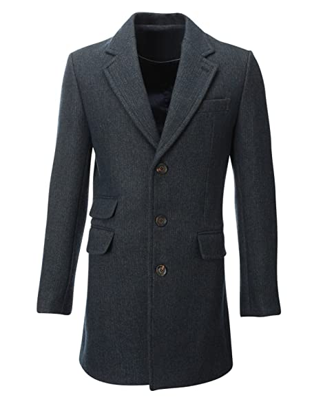 FLATSEVEN Mens Winter Tweed Coat Long Jacket Wool (CT901) Blue, XS ...