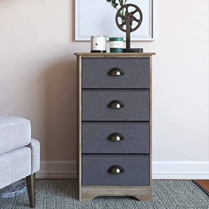 Nathan James 78801 Calvin Antique Dry Oak Bedroom Dresser Storage with  Fabric, Gray