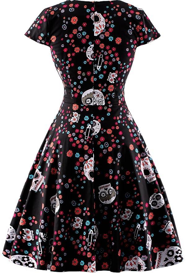 OTEN Women\'s Vintage Floral Sugar Skull Print Rockabilly Party Dress ...