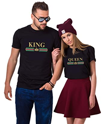 Matching Couple Shirts Set King Queen T His Her Valentines Birthday Gift Cotton Love