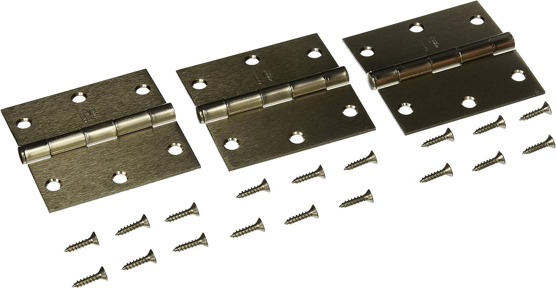 3.5-Inch 3-Pack NATIONAL MFG//SPECTRUM BRANDS HHI N830-326 Door Hinge Satin Nickel