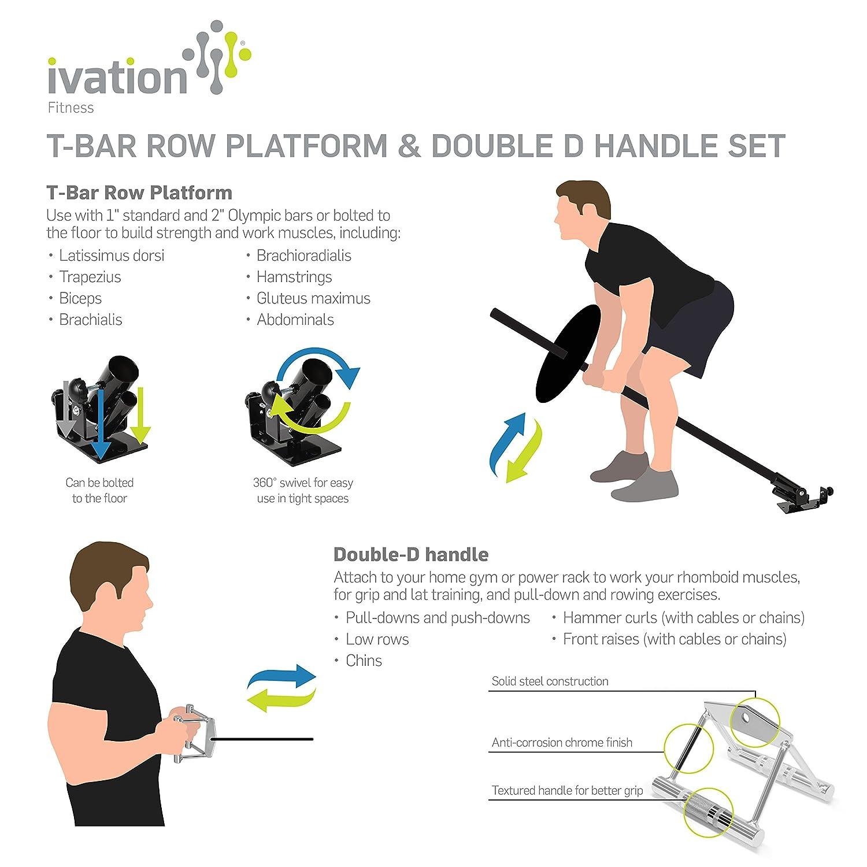 Ivation T-bar Row plataforma y doble D mango Set: Amazon.es: Deportes y aire libre