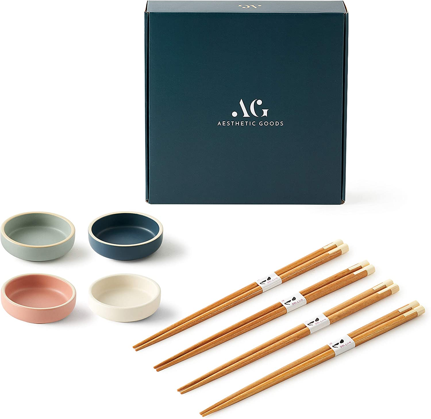 4 Small Ceramic Sauce Dipping Bowls with Chopsticks by Aesthetic Goods | Condiment Soy Sauce Dip | Food Prep Pinch Bowl | Charcuterie Board Accessories | Japanese Sushi Mini Plate Set | Mise En Place