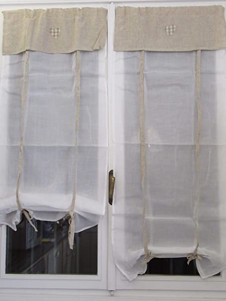 45x150 Confezioni.Giuliana Coppia Tenda Finestra PORTAFINESTRA Shabby con Ricamo Bianco Ecru Lino Lucia Coppia