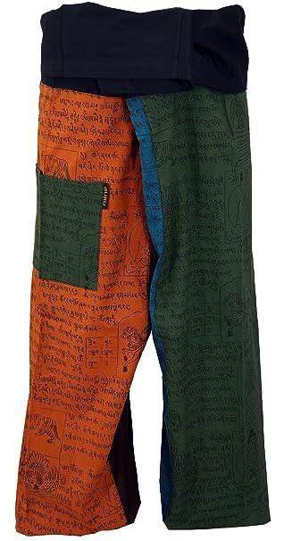 GURU-SHOP, Pantalones de Pescador Tailandés de Algodón ...