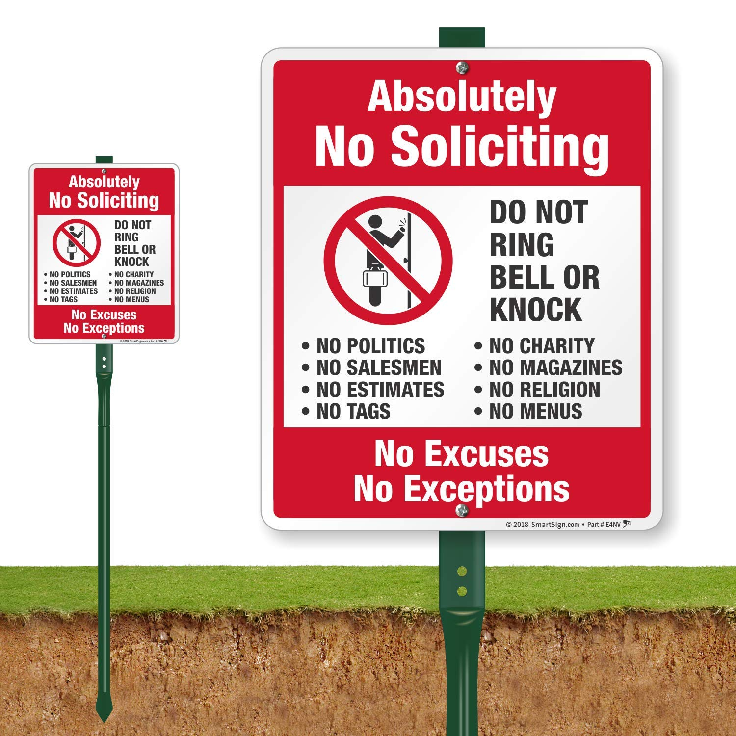 SmartSign ''Absolutely No Soliciting - Do Not Ring Bell Or Knock, No Excuses, No Exceptions'' Sign for Lawn | 12'' x 10'' Aluminum Sign with 3' Stake [New]