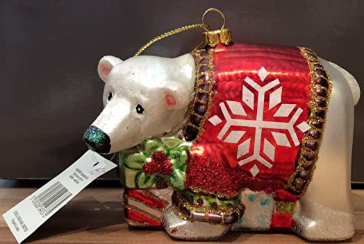 glass polar bear christmas tree decoration 9cm - Bear Christmas Tree
