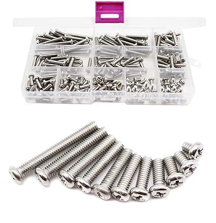 Amazon.com  cSeao 220pcs Pan Phillips Head M4 Machine Screws 304 Stainless  Steel Assortment Kit d4bac06e9f27