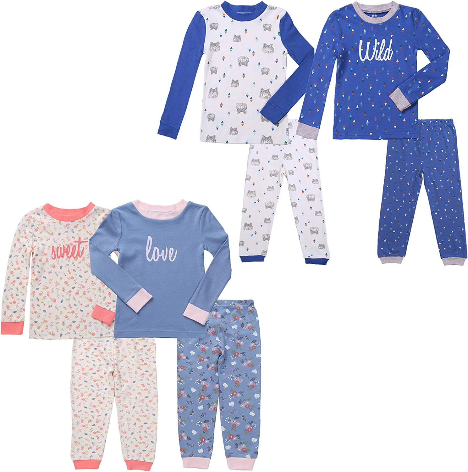 Twin Outfits for Boy and Girl Including Footies Bodysuits /& Pajamas Gifts Set