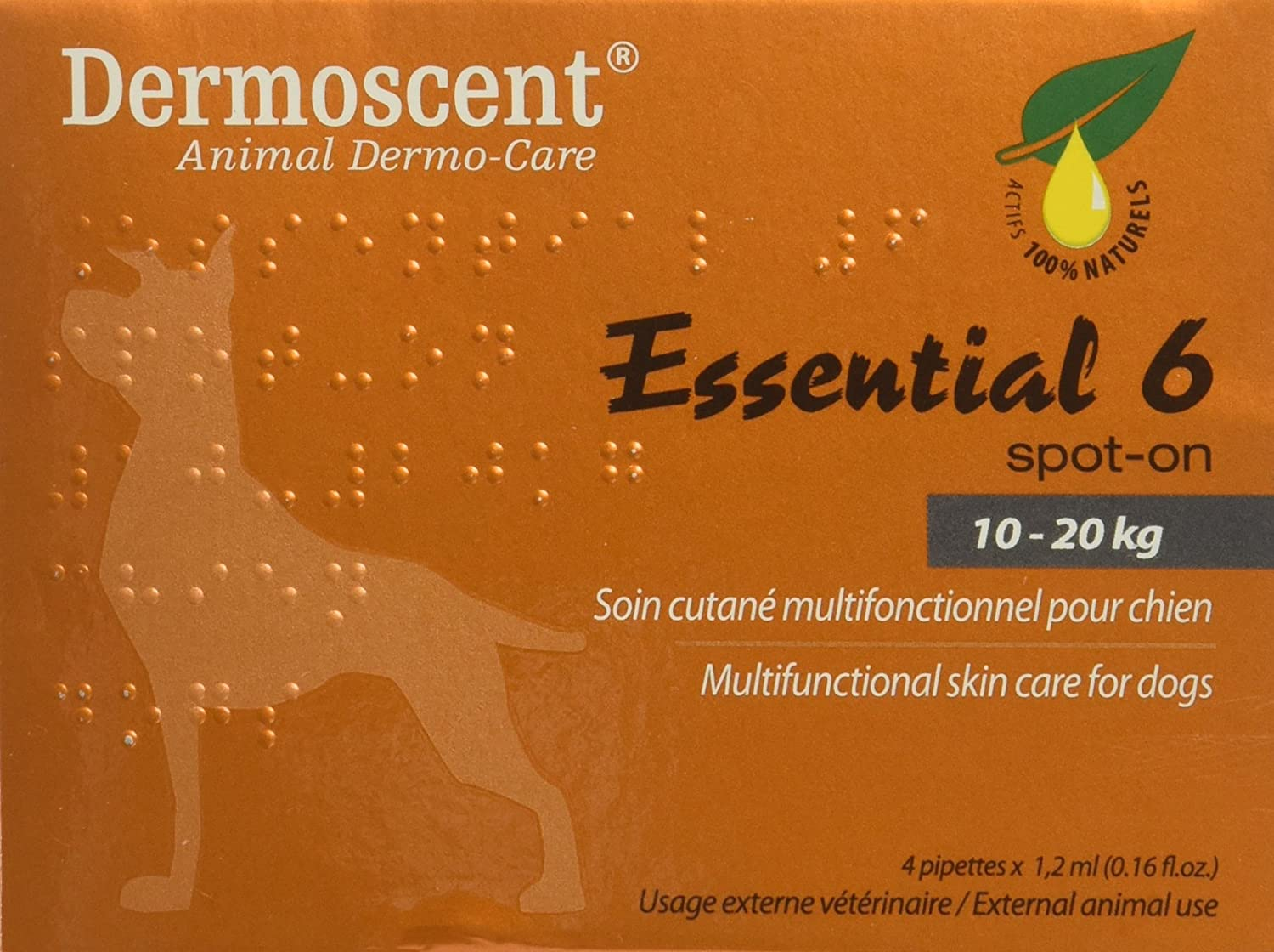 Dermoscent Essential 6 Spot On Skin Care For Medium Dogs 22 45 Lbs, 4 Tubes (10 20kg) by Dermoscent