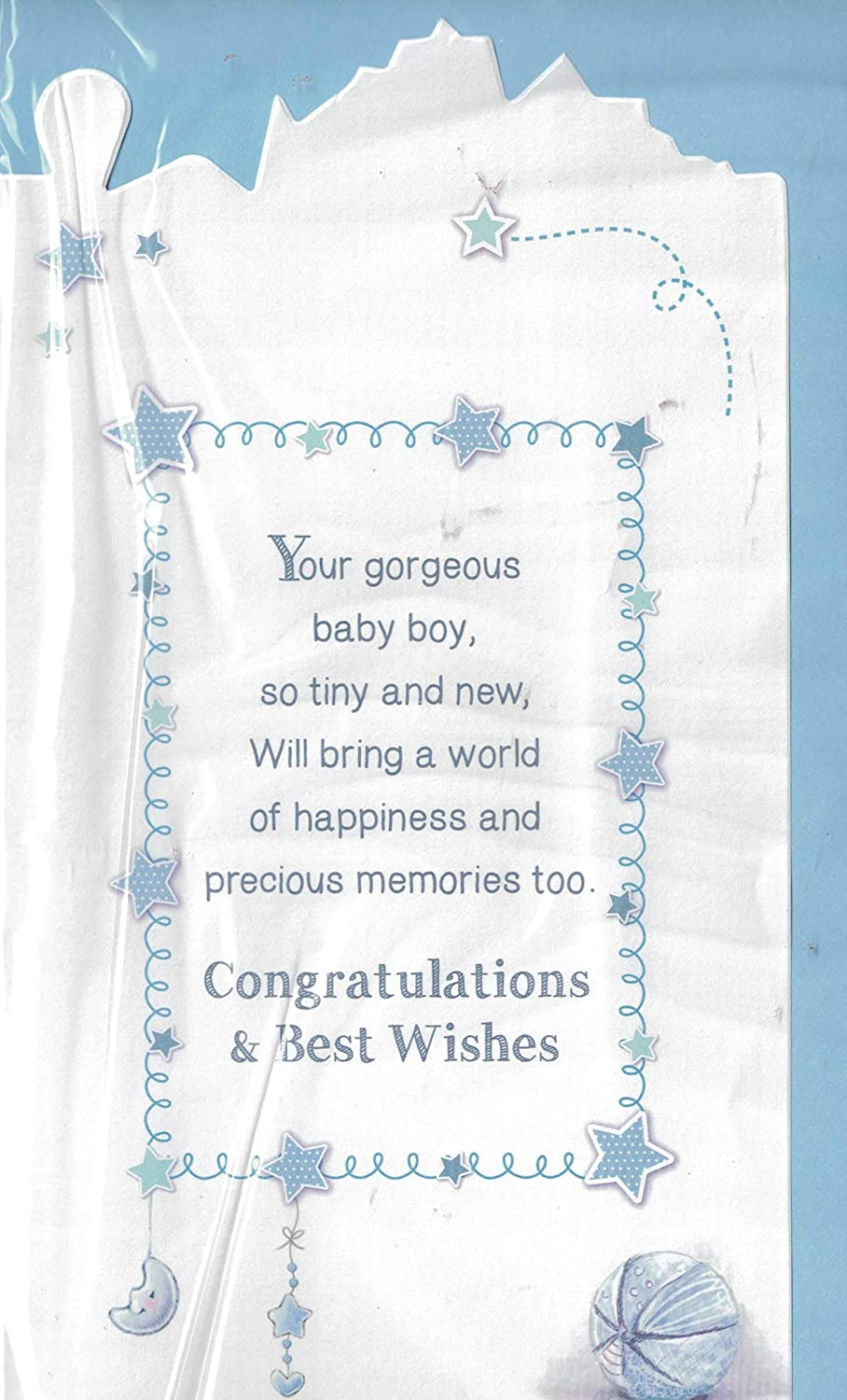 Cute New Baby Boy Word Cloud Congratulations Card New Arrival Birth Details