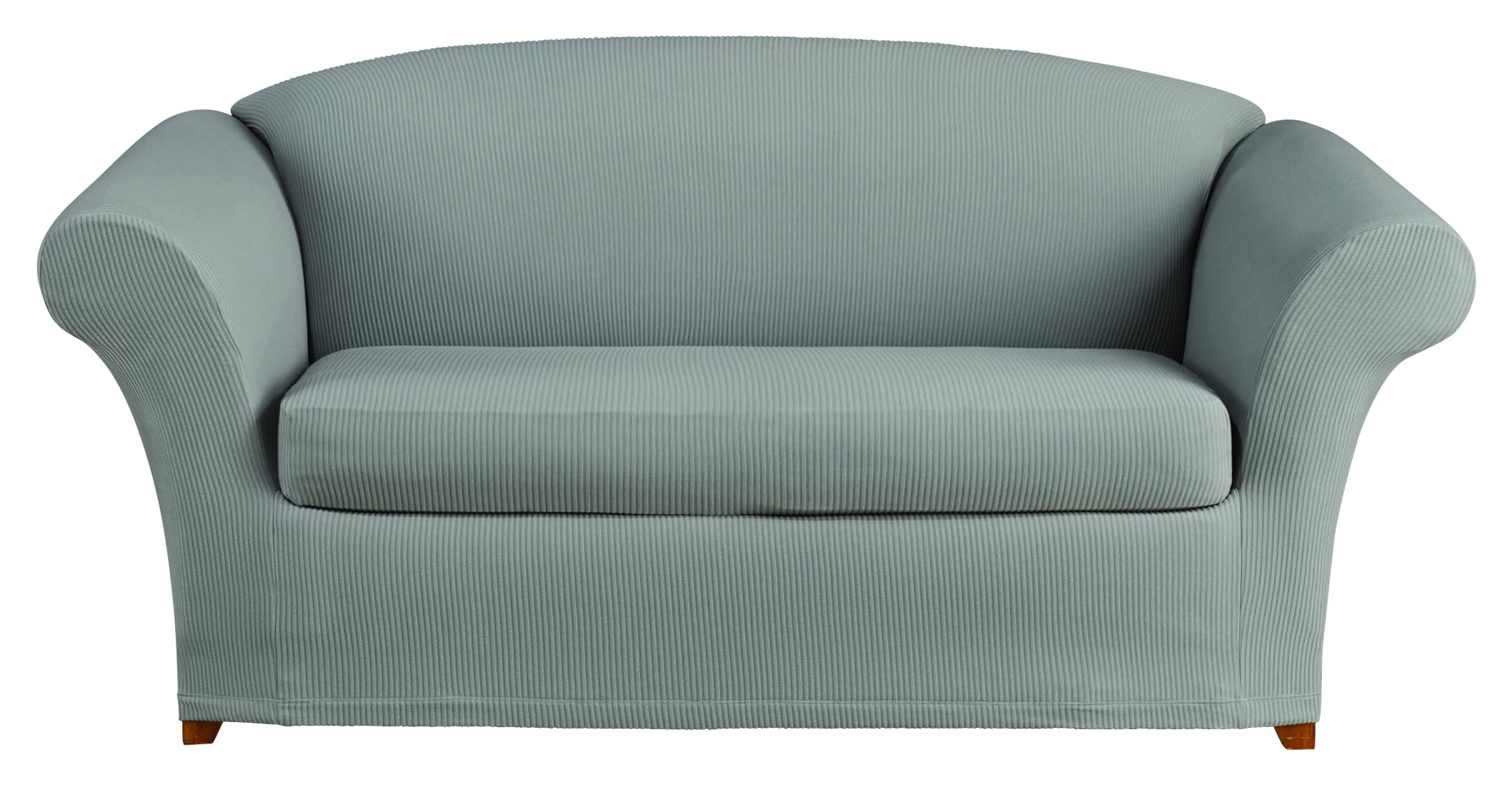 Sure Fit Stretch Seersucker 2-Piece - Loveseat Slipcover  - Coastal Gray (SF44937) by Surefit