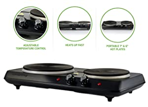 Ovente Countertop Electric Double Cast-Iron Burner with Adjustable Temperature Control, 7 & 6 Inch, Metal Housing, Indicator Light, Non-Slip Rubber Feet, 1700-Watts, Black (BGS102B)