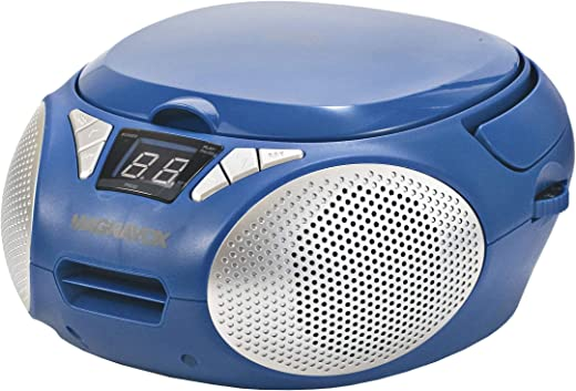 MAGNAVOX MD6924-BL Portable Top Loading CD Boombox with AM/FM Stereo Radio in Blue   CD-R/CD-RW Compatible   LED Display   AUX Port Supported   Programmable CD Player  