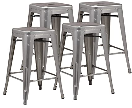 Poly And Bark Trattoria 24u0026quot; Counter Height Stool In Polished Gunmetal  ...