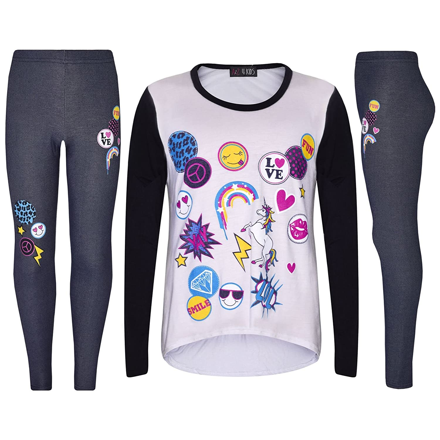 Girls Top Kids Unicorn Love Emojis Print T Shirt Tops & Jegging Set 7-13 Years