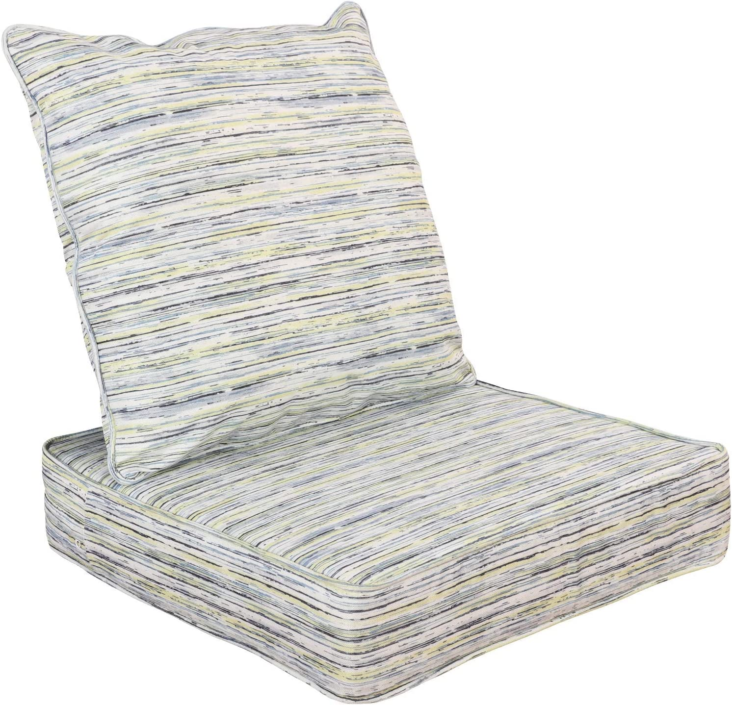 WOTU Outdoor/Indoor Deep Seat Chair Cushions Set ,Deep Seat and Comfortable Back Cushion Large Size Replacement Cushion for Patio Furniture (Grey)