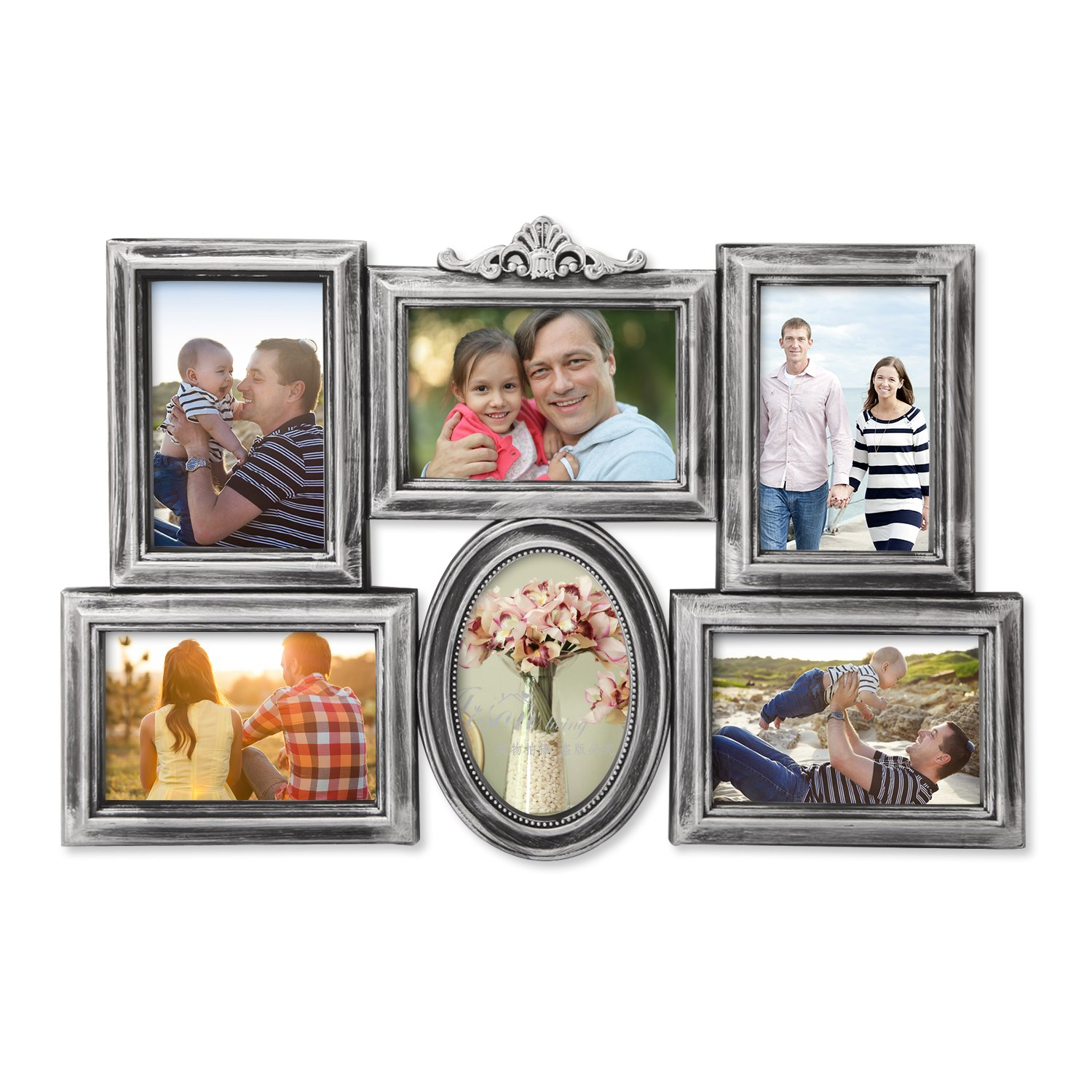 DecentHome Wall Hanging Collage Frame, 4 x 6 Inches (10 Openings Memories) APF-459