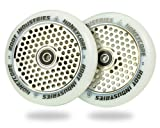 120mm Honeycore Pro Stunt Trick Kick Scooter Wheels (Pair) - Fast Hollowcore - Push Scooter Tires - 120mm Freestyle Speed Urethane - Fit Most Setups - 24mm x 120mm - Bearings