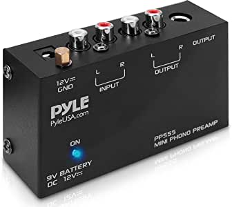 Pyle Phono Turntable Preamp - Mini Electronic Audio Stereo Phonograph Preamplifier with 9V Battery Compartment, Separate DC 12V Power Adapter, RCA Input, RCA Output & Low Noise Operation (PP555)