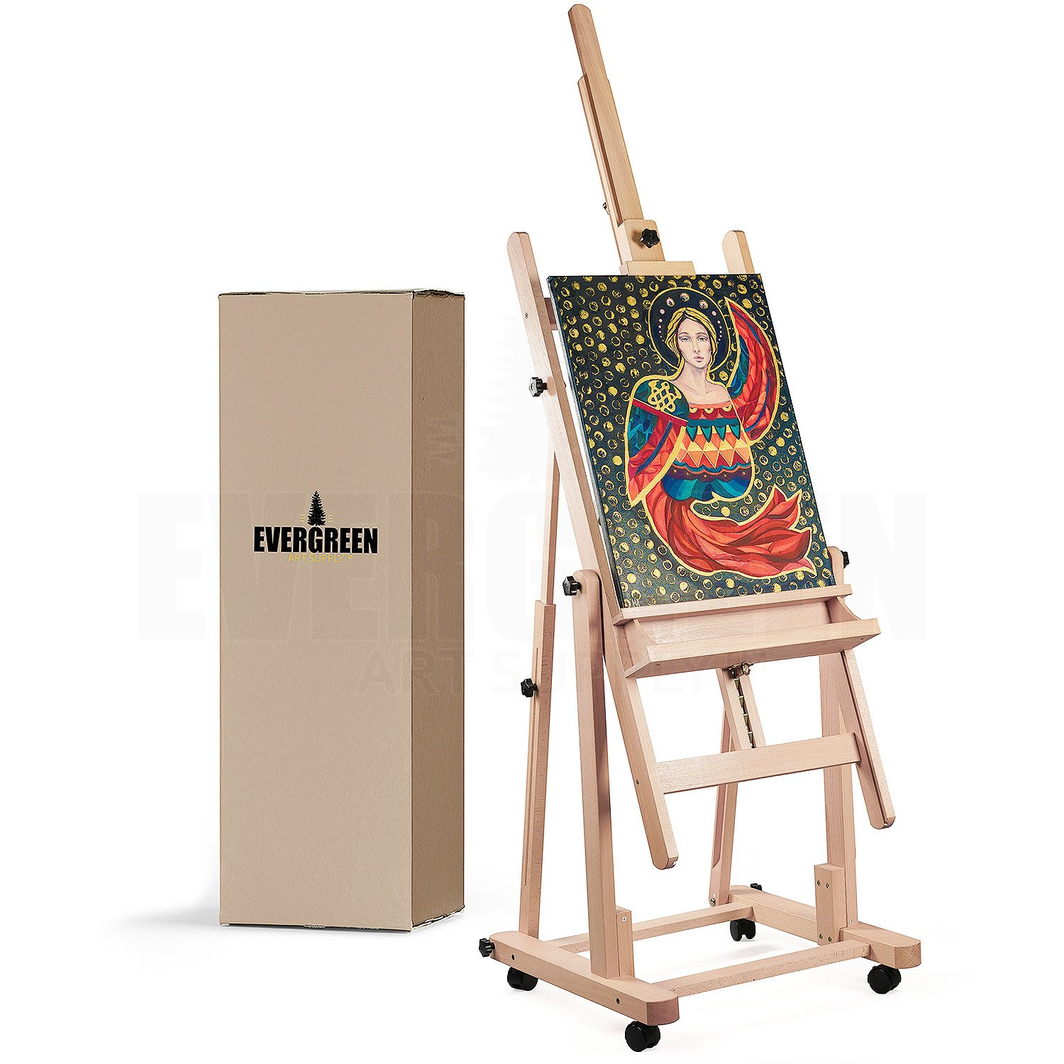 Heavy Duty H Frame Wooden Art Easel for Adults - Oil Painting Easel Stand Wood Artist Easels for Painting - Adjustable Standing Studio Floor Easel - Professional Art Supplies, Large Canvas up to 90''