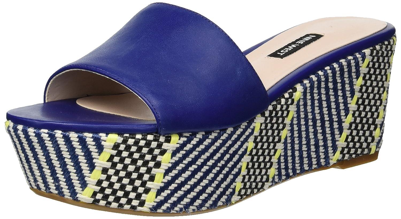 Nine West Women's Falardo Leather Platform B076FMNR4T 7 B(M) US|Dark Blue