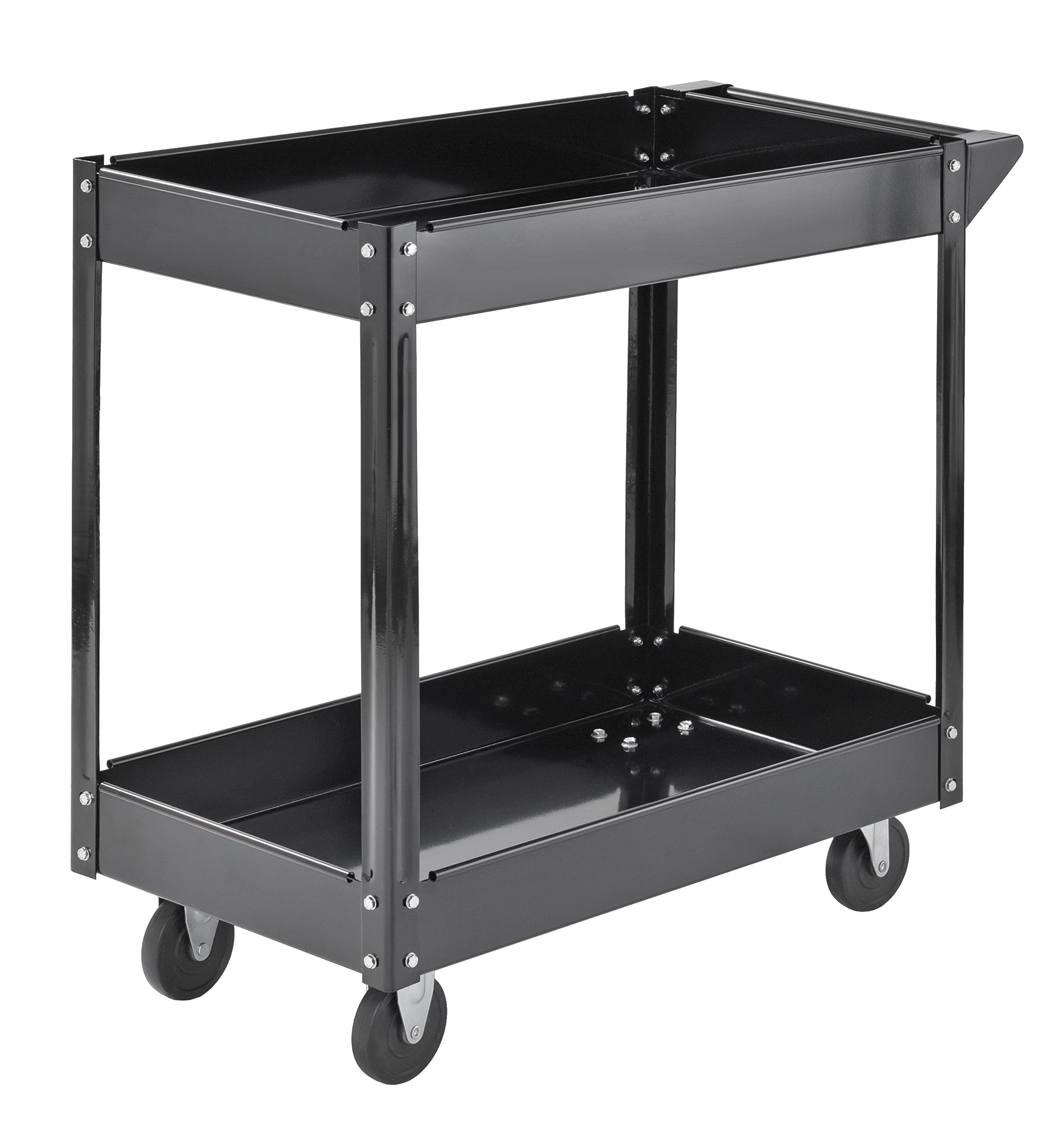Muscle Rack SC3016 Industrial Black Commercial Service Cart, Steel, 220Lbs Capacity, 33'' Width x 30.5'' Height x 16'' Depth, 2 Shelves, 30.5'' Height, 33'' Width, 16'' Length by Muscle Rack (Image #5)