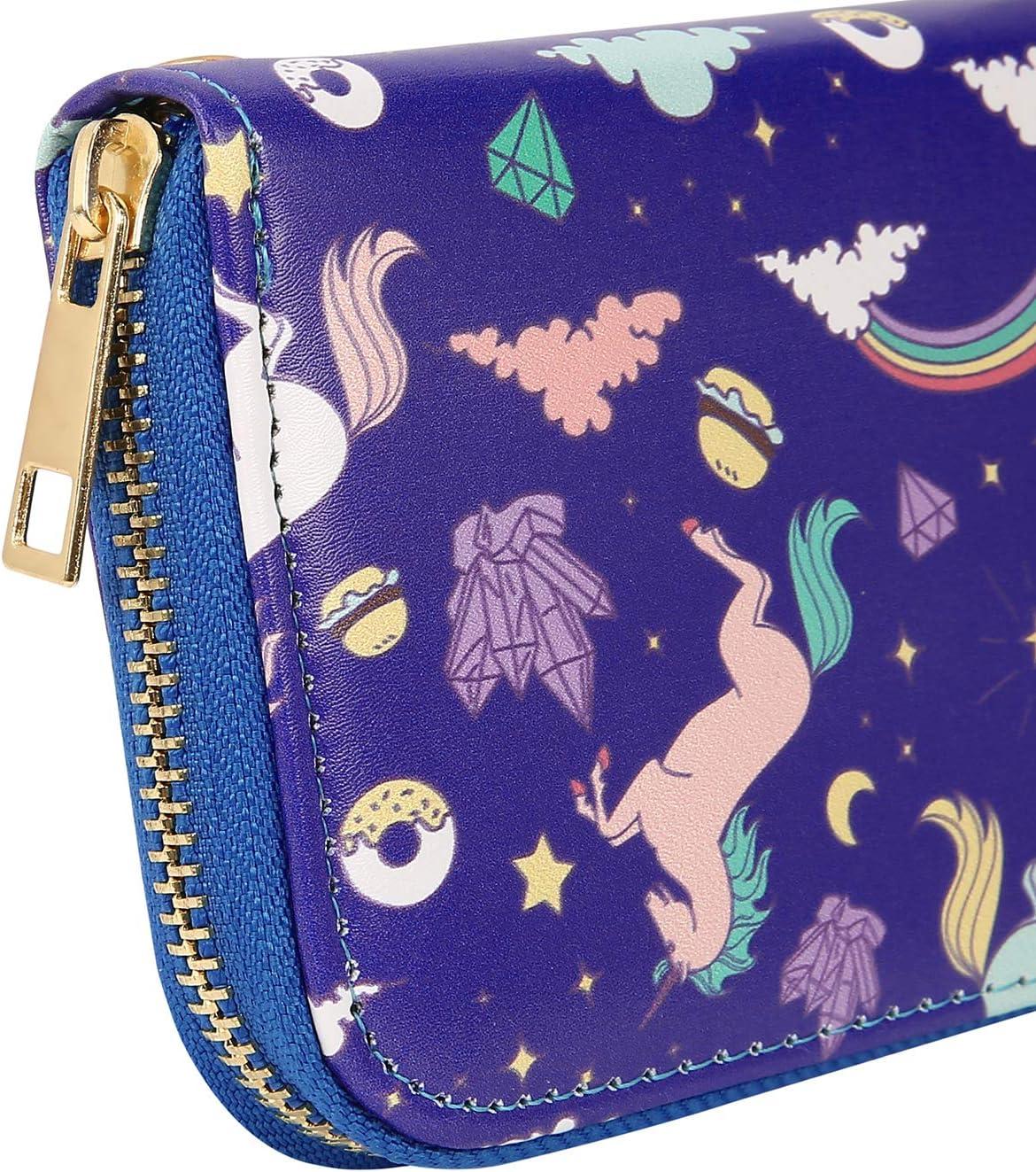 Unicorn HDE Clutch Wallets for Women RFID Blocking Credit Card Holder Zipper Purse