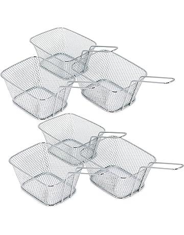 COM-FOUR® Mini cestas para servir papas fritas y otros bocadillos, cesto para