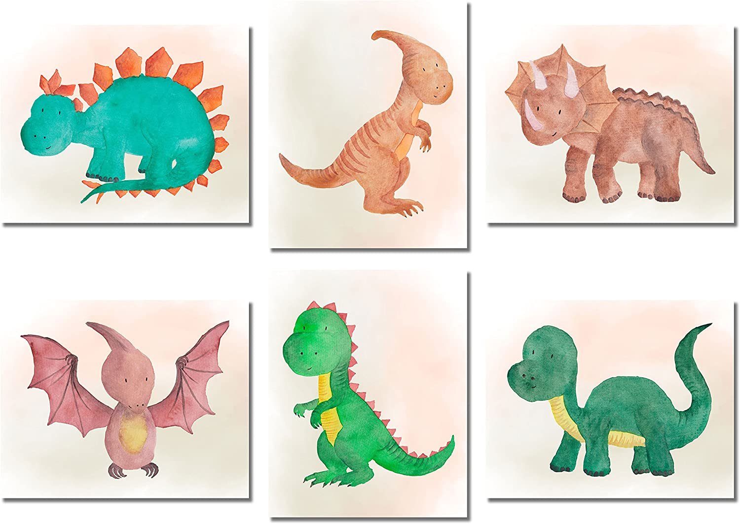 Dinosaur Watercolor Prints - Set of 6 (8 inches x 10 inches) Photos - Cute Kids Boys Girls Bedroom Wall Art
