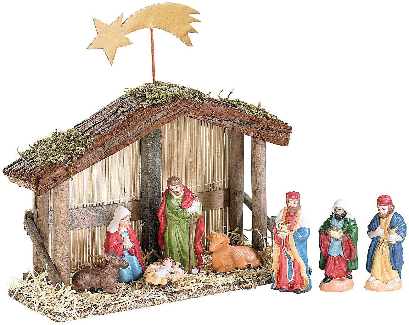 Portal de Belén de Navidad con Figuras de Porcelana Pintadas a Mano