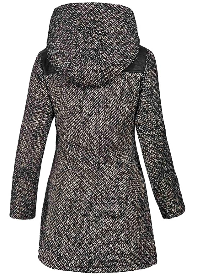 Eight2Nine Damen Winter Mantel mit großer Kapuze, warmes