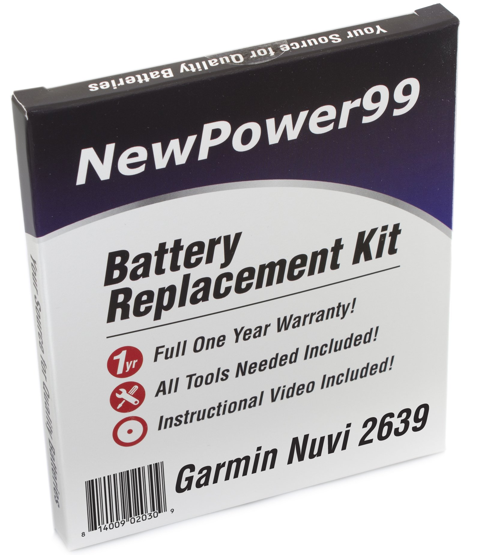 NewPower99 Battery Replacement Kit for Garmin Nuvi 2639 with Installation Video, Tools, and Extended Life Battery.