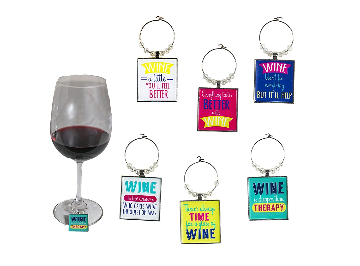 Funny Art Quote Wine Charm Set of 6 Fun inspirational word Unique Ring Theme Label Champagne Glass Marker Accessories Gift Idea for Women Men Boy Girl kid Happy Birthday Party Event engagement Qurly