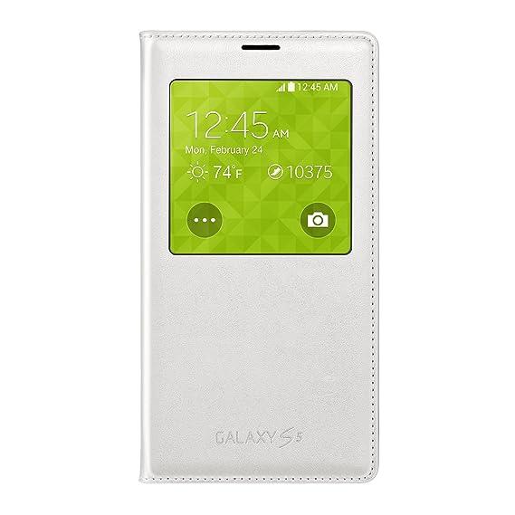 free shipping b2ef4 b0837 Samsung Galaxy S5 Case S View Flip Cover Folio, White