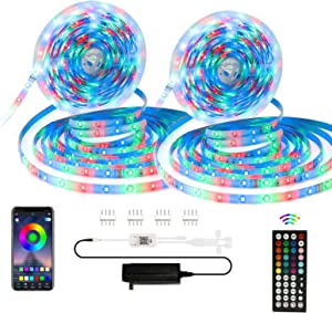 Led Strip Lights, 50ft RGB Led Strip Lights 5050 Led Tape Light, Color Changing Led Strip Lights with APP Control, 44 Key IR Remote Controller for Bedroom Home Lighting TV Backlight, Kitchen, Bar