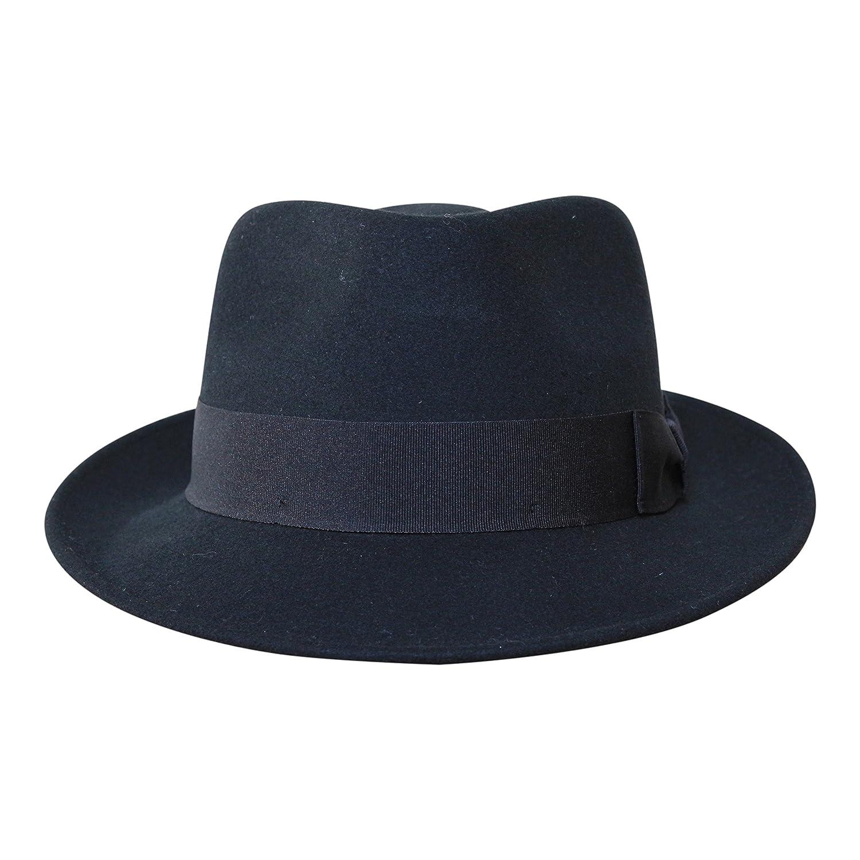 B& S Premium Doyle- Cappello a Goccia Fedora-100% Feltro di Lana- Ripiegabile in Viaggio- Impermeabile- Unisex