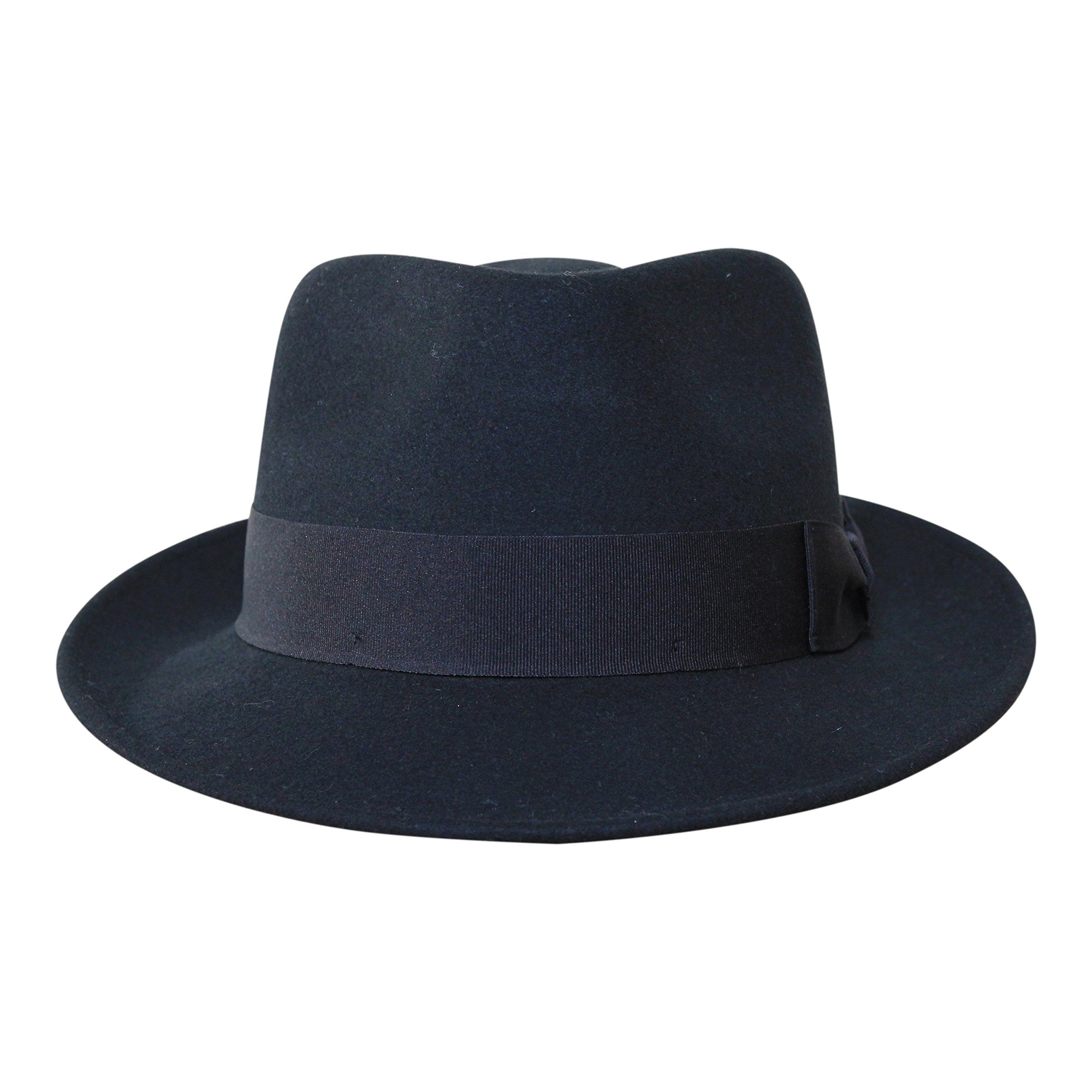 B&S Premium Doyle - Teardrop Fedora Hat - 100% Wool Felt - Crushable For Travel - Water Resistant - Unisex - Black 58