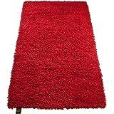 Gözze Tapis de laine épais Uni 60 x 100 cm rouge