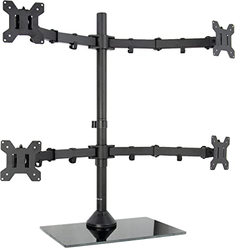 """Used Dual LCD Monitor Desk Stand//Mount Free Standing Adjustable 2 Screens 27/"""""""
