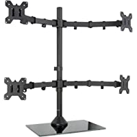"VIVO Black Adjustable Quad Monitor Desk Stand Mount Free Standing Heavy Duty Glass Base | Holds Four (4) Screens up to 27"" (STAND-V004FG)"