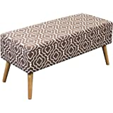 Otto & Ben 37-in EASY LIFT TOP Upholstered Ottoman Storage Bench  – Moroccan Brown feat. cushioned seating with hidden storage / pneumatic hinge / pre-drilled real wooden legs