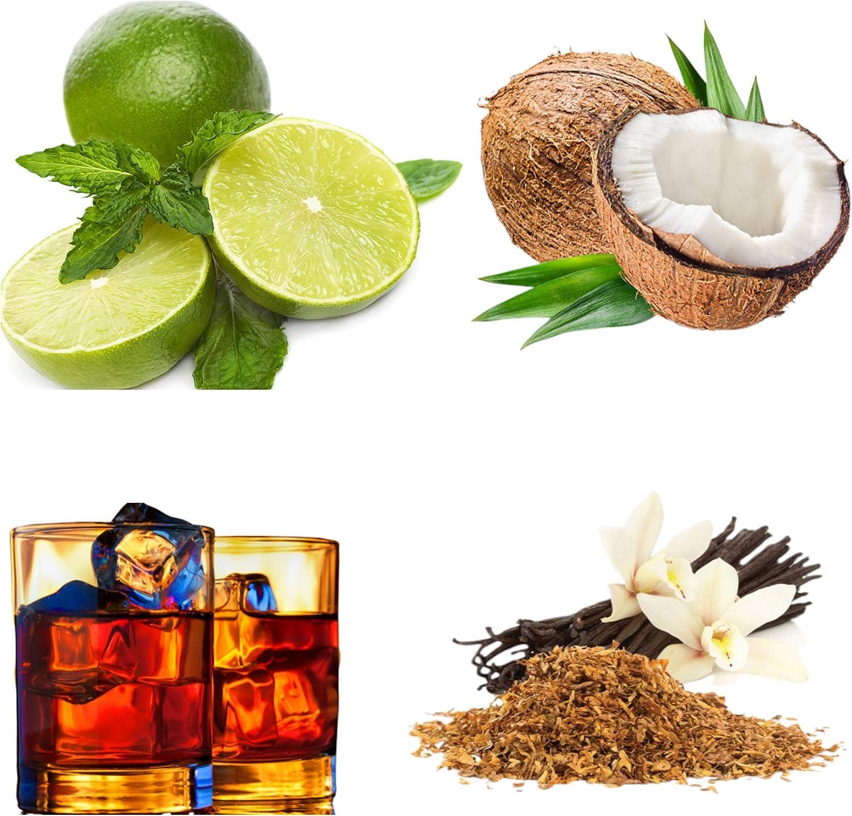 Kit de bálsamo para barba 2   Coco   Ron dulce   Lima   Tabaco y vainilla   4 x 10 ml